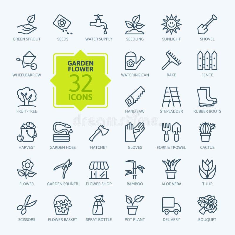 Icona del profilo messa - fiore e fare il giardinaggio illustrazione di stock