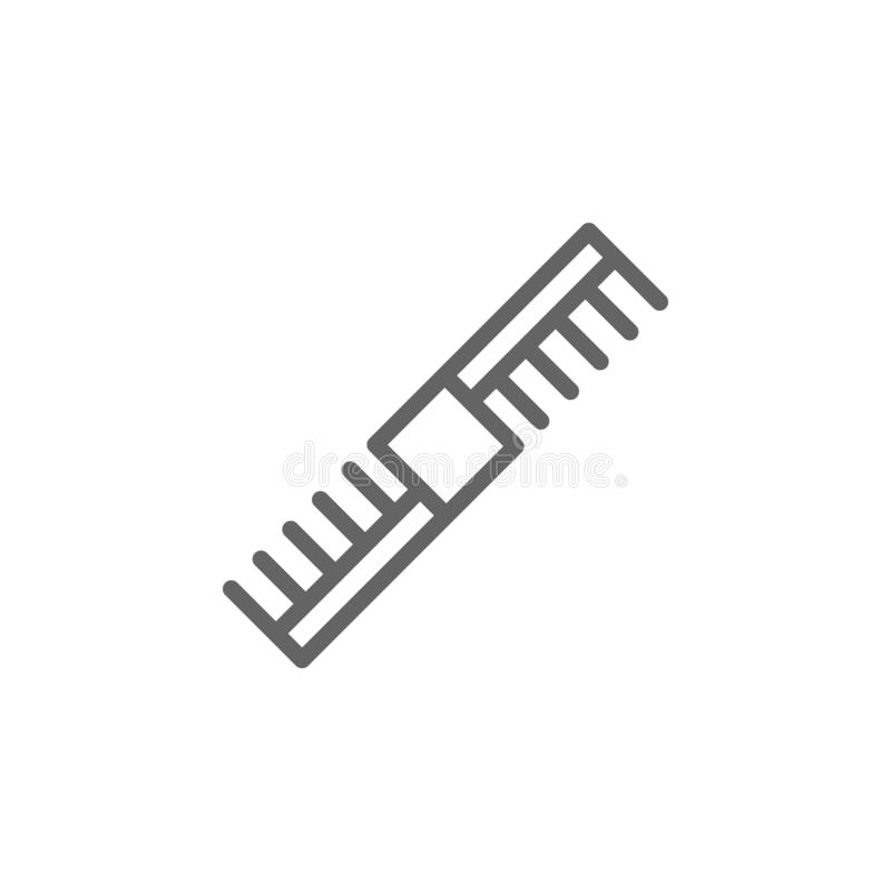 Icona del profilo del pettine delle donne Elementi icona dell'illustrazione dei cosmetici e di bellezza I segni ed i simboli poss illustrazione vettoriale