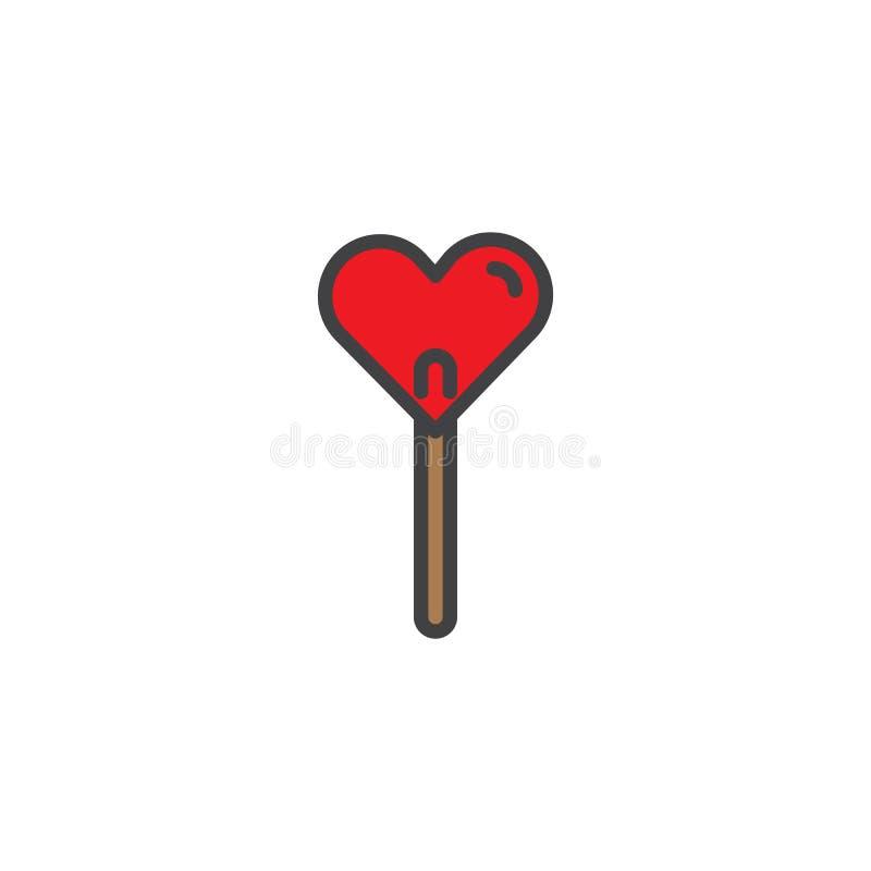 Icona del profilo riempita dolce della caramella della lecca-lecca del cuore illustrazione di stock