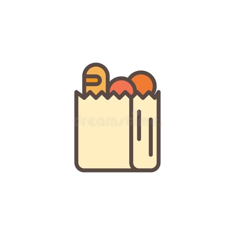Icona del profilo riempita sacchetto della spesa della drogheria illustrazione di stock