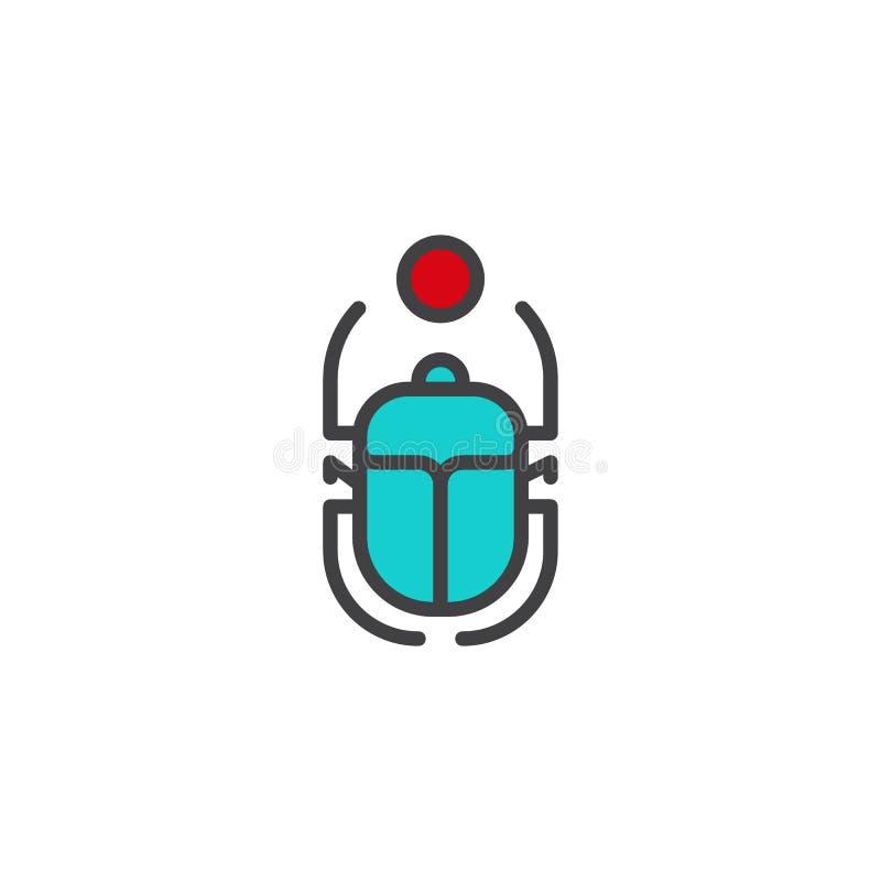 Icona del profilo riempita scarabeo egiziano illustrazione vettoriale