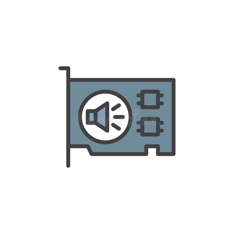 Icona del profilo riempita scheda audio del computer illustrazione vettoriale