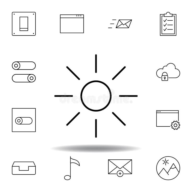 Icona del profilo del sole di luminosit? Insieme dettagliato delle icone delle illustrazioni di multimedia del unigrid Pu? essere illustrazione di stock