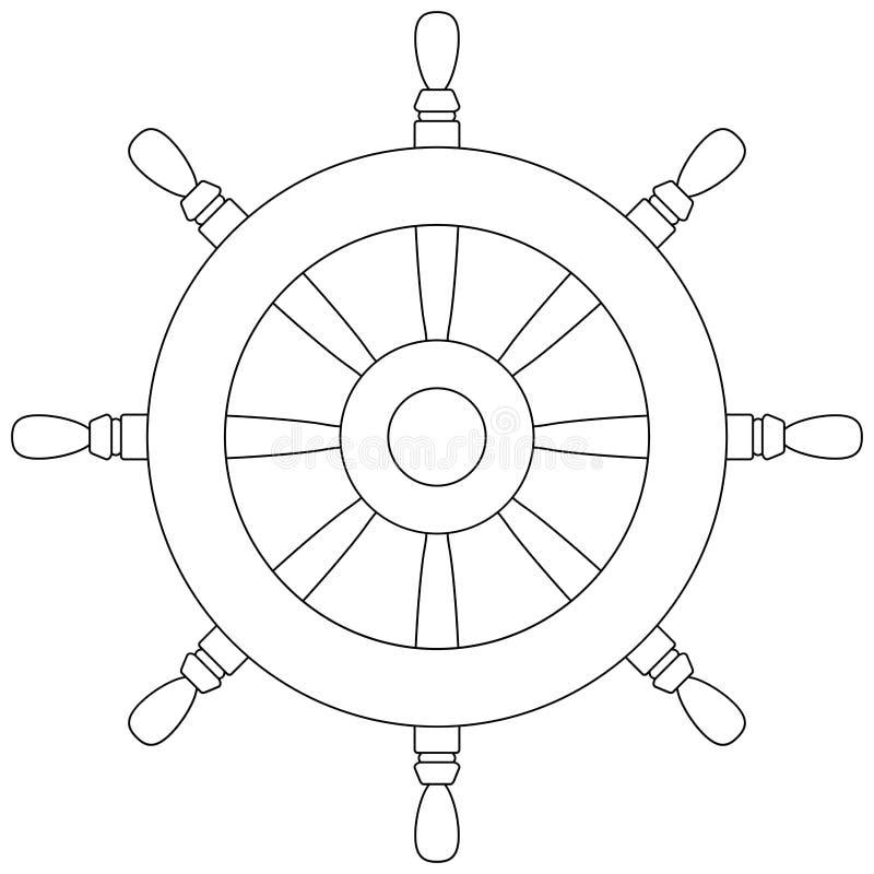 icona del profilo del timone Pagina del libro da colorare della ruota motrice della barca illustrazione vettoriale