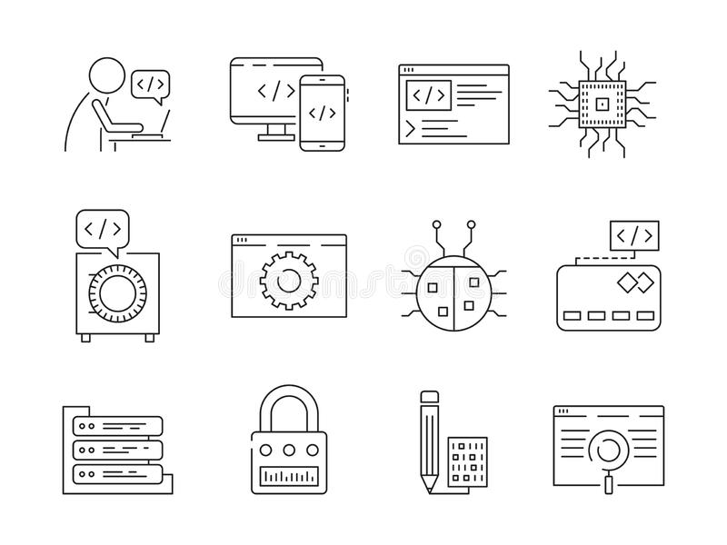 Icona del programmatore Prova del sistema di qa di nodi dei patch del lavoratore dello sviluppatore di web del codificatore che c royalty illustrazione gratis
