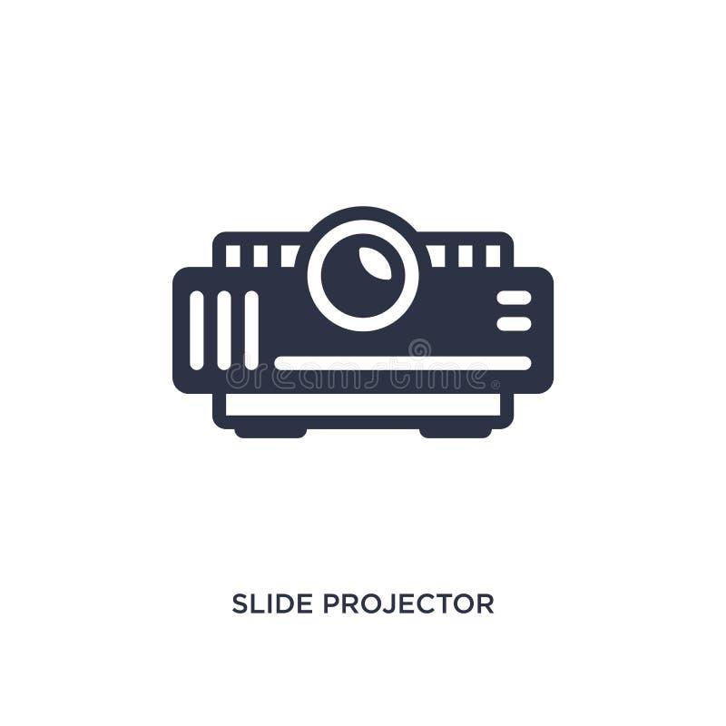 icona del proiettore di diapositive su fondo bianco Illustrazione semplice dell'elemento dal concetto del cinema illustrazione di stock