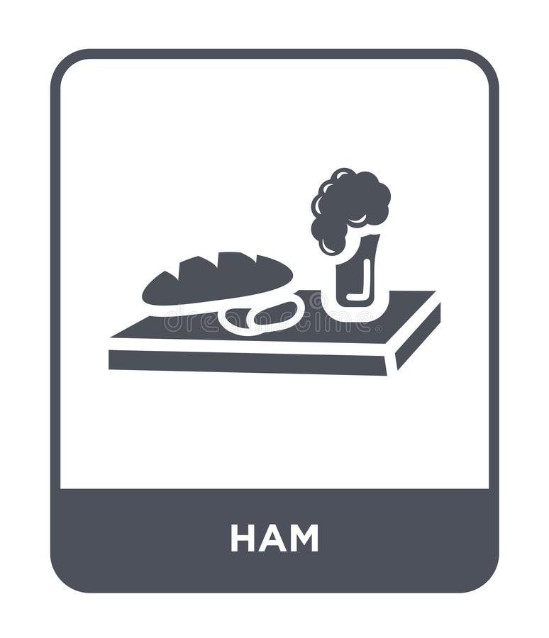 icona del prosciutto nello stile d'avanguardia di progettazione icona del prosciutto isolata su fondo bianco simbolo piano sempli illustrazione di stock