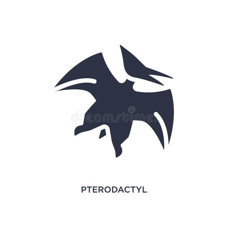 icona del pterodattilo su fondo bianco Illustrazione semplice dell'elemento dal concetto di età della pietra illustrazione di stock