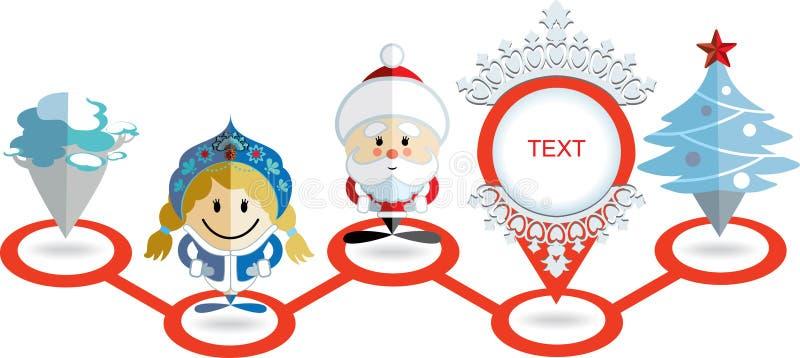Icona del puntatore della mappa di Natale Santa Claus, ragazza della neve, puntatore, albero di Natale e pino in una fila illustrazione vettoriale