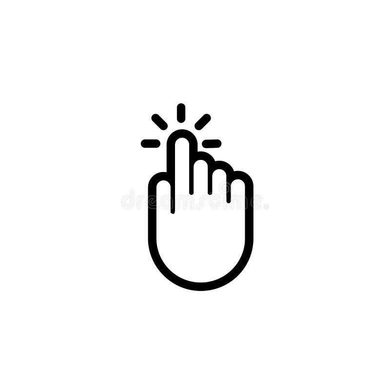 Icona del puntatore di vettore di spinta del torchio tipografico manuale del dito di clic illustrazione vettoriale