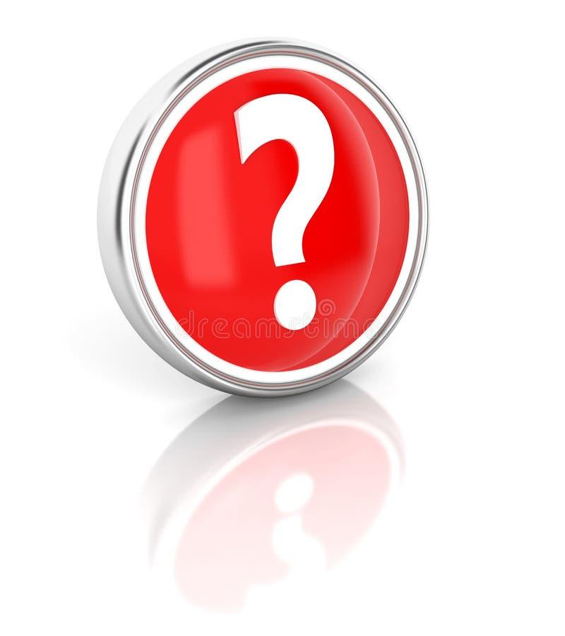 Icona del punto interrogativo sul bottone rotondo rosso lucido illustrazione di stock