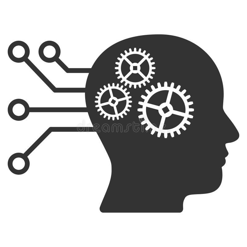 Icona del quadro televisivo del circuito di interfaccia del cyborg royalty illustrazione gratis