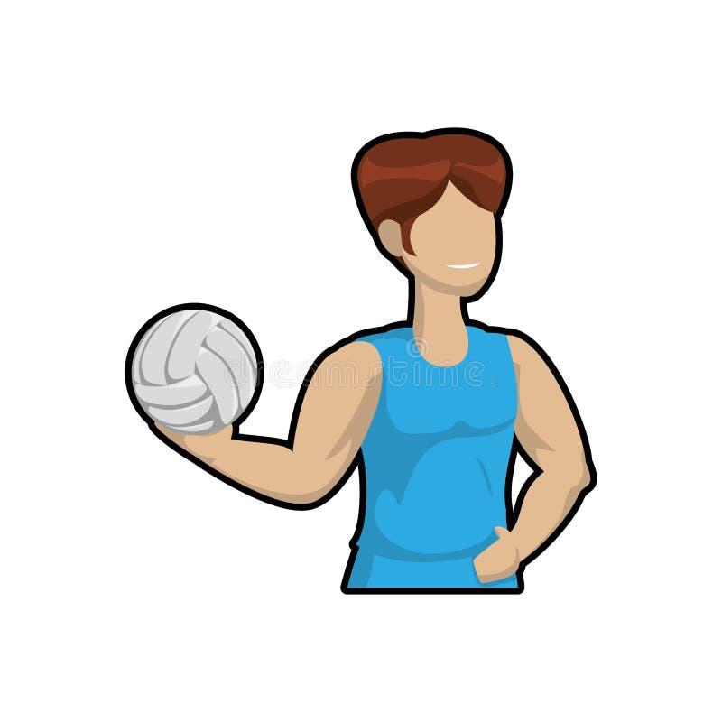 Icona del ragazzo del fumetto e di pallavolo Concetto di sport Grafico di vettore illustrazione vettoriale