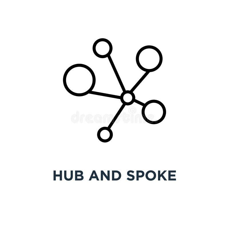 Icona del raggio e del hub Illustrazione semplice lineare dell'elemento Connecti illustrazione vettoriale