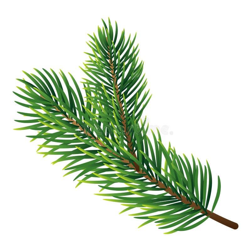 Icona del ramo di pino, stile realistico royalty illustrazione gratis