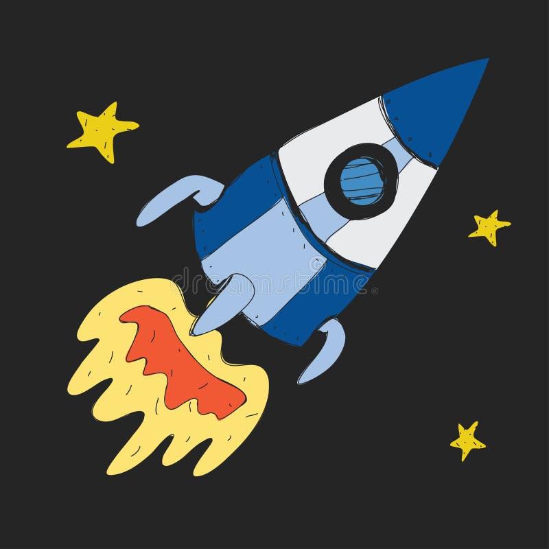 Icona del razzo e delle stelle del fumetto per i bambini Esplorazione di viaggio di avventura intorno all'universo illustrazione di stock