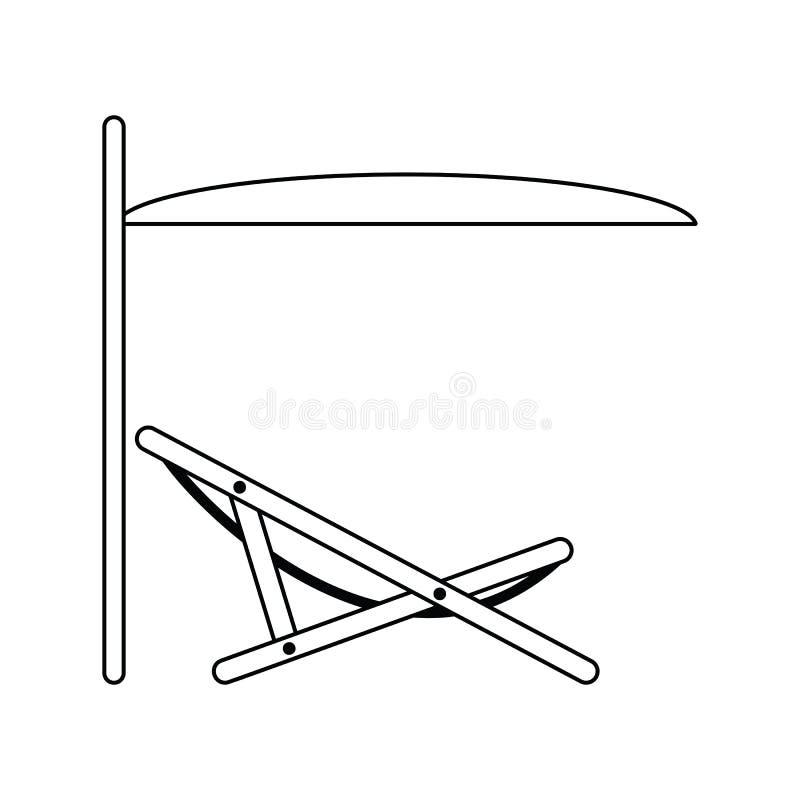 Icona del recliner della spiaggia del mare con l'ombrello illustrazione vettoriale