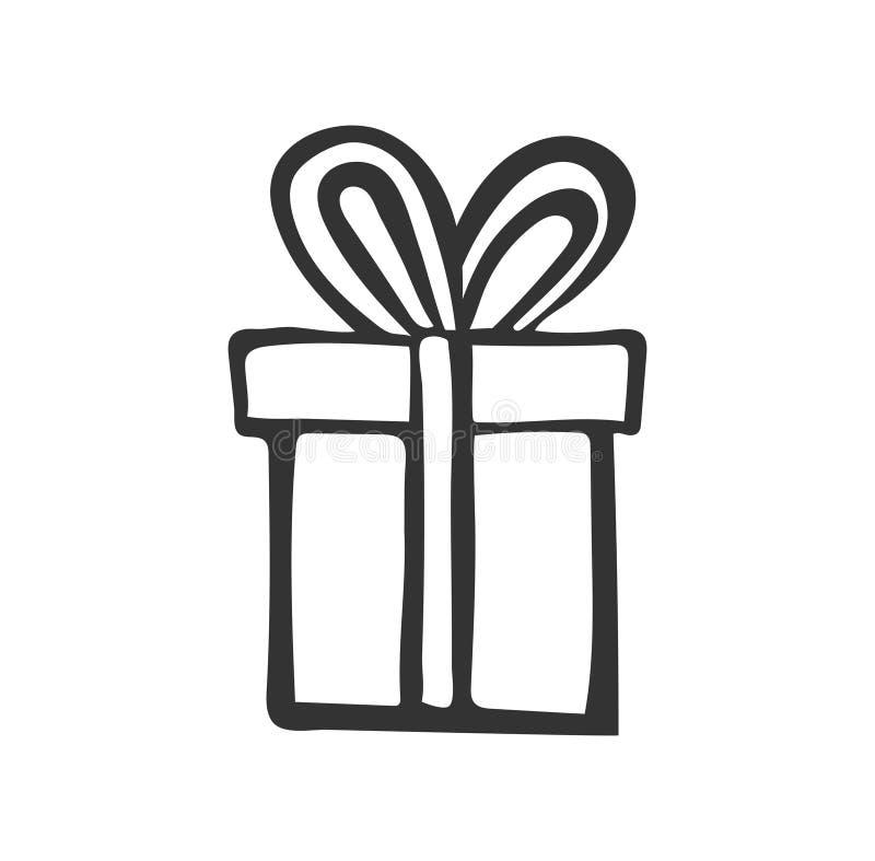 Icona del regalo Scatola attuale semplice con il nastro Illustrazione della mano Inchiostro nero di stile di scarabocchio illustrazione vettoriale