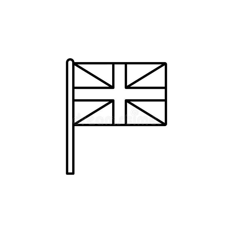 Icona del Regno Unito Elemento dell'icona della bandiera per i apps mobili di web e di concetto La linea sottile icona del Regno  illustrazione di stock