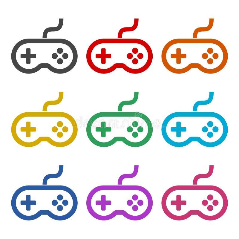 Icona del regolatore o del gamepad del video gioco o logo, insieme di colore royalty illustrazione gratis
