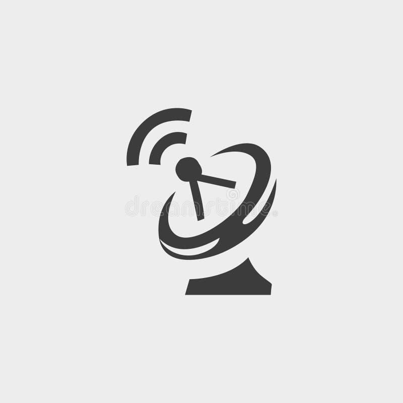 Icona del riflettore parabolico in una progettazione piana nel colore nero Illustrazione EPS10 di vettore illustrazione vettoriale