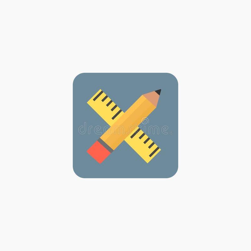 Icona del righello e della matita Illustrazione di vettore ENV 10 illustrazione vettoriale