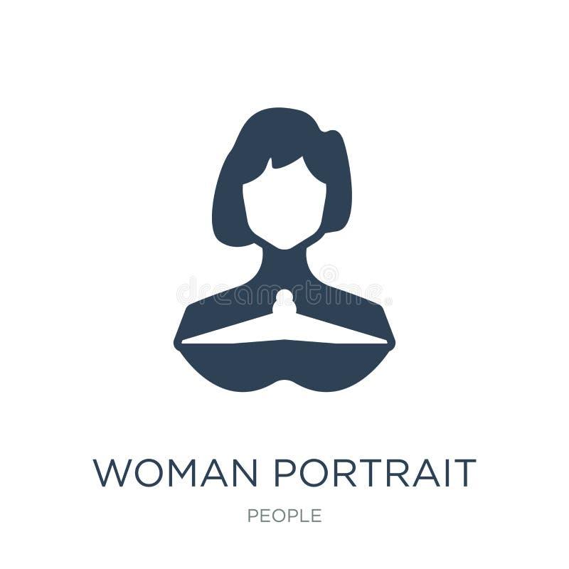 icona del ritratto della donna nello stile d'avanguardia di progettazione icona del ritratto della donna isolata su fondo bianco  illustrazione di stock
