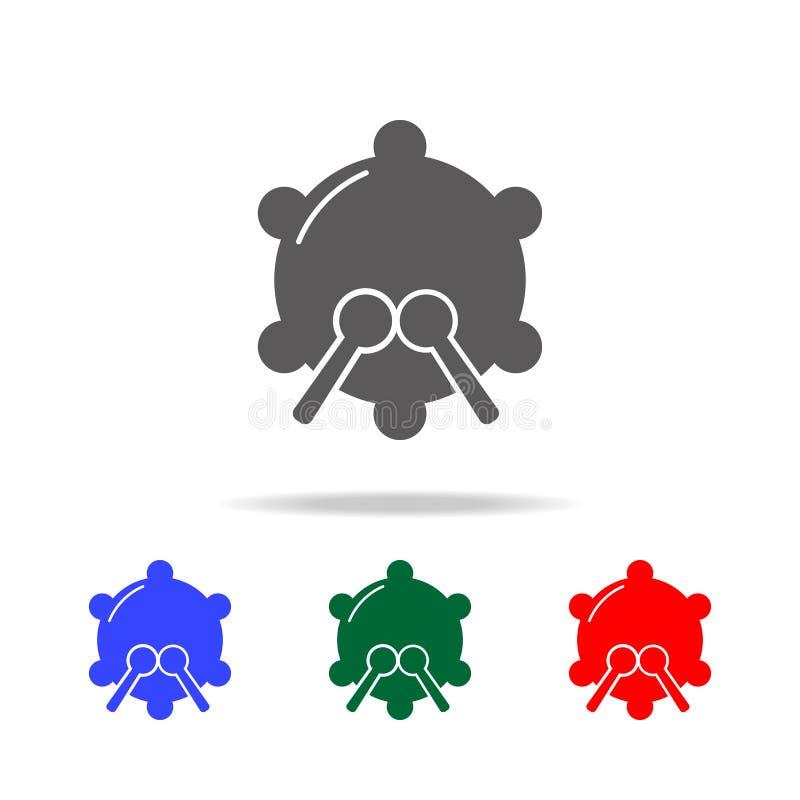 Icona del rullante Elementi nelle multi icone colorate per i apps mobili di web e di concetto Icone per progettazione del sito We illustrazione vettoriale