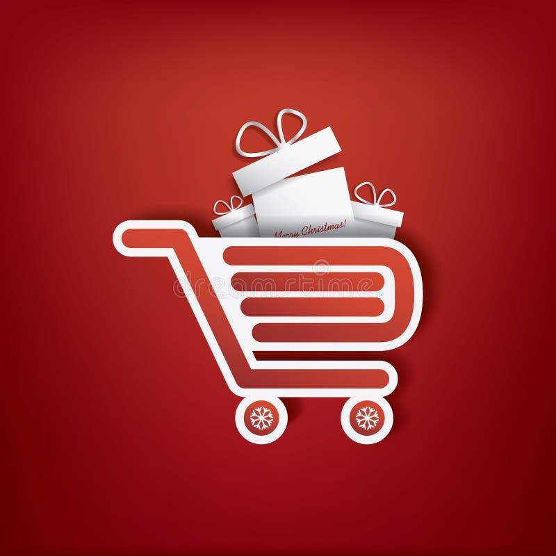 Icona del sacchetto della spesa con le vendite di Natale illustrazione vettoriale