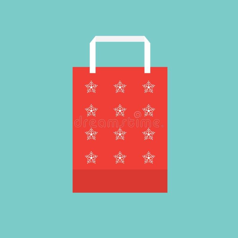 Icona del sacchetto della spesa di Natale illustrazione vettoriale