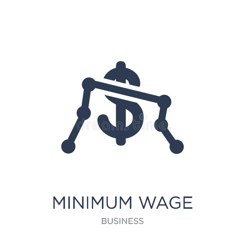 Icona del salario minimo Icona piana d'avanguardia del salario minimo di vettore su bianco illustrazione di stock