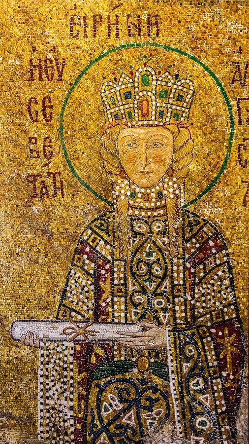 Icona del san Irina nell'interno di Hagia Sophia - più grande monum immagine stock libera da diritti