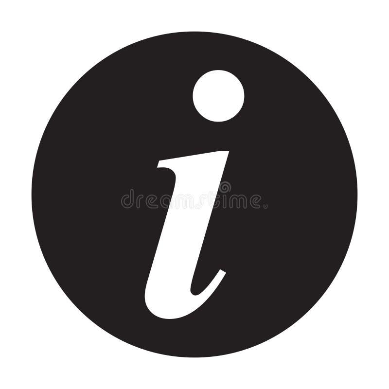 Icona del segnale di informazione, icona di informazioni, illustrazione di vettore della lettera i royalty illustrazione gratis