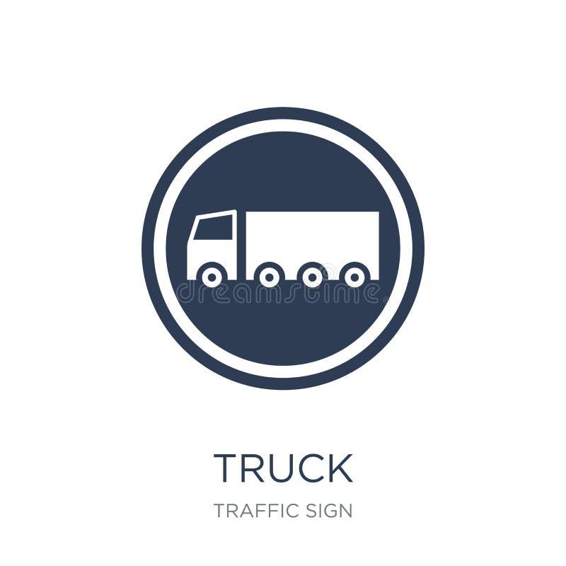 Icona del segno del camion Icona piana d'avanguardia del segno del camion di vettore sul BAC bianco illustrazione vettoriale