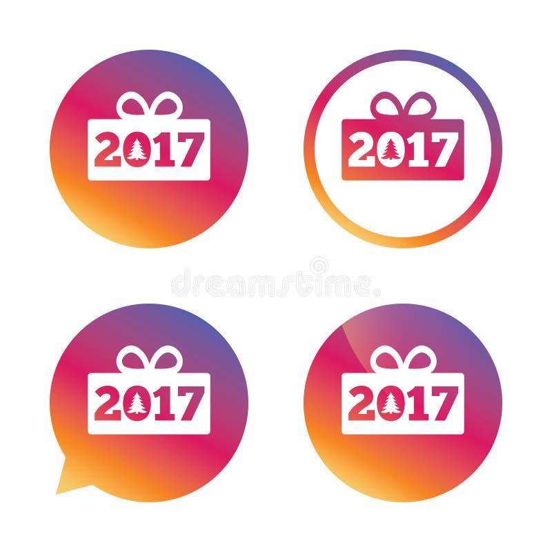 Icona del segno del buon anno 2017 Regalo di Natale illustrazione vettoriale