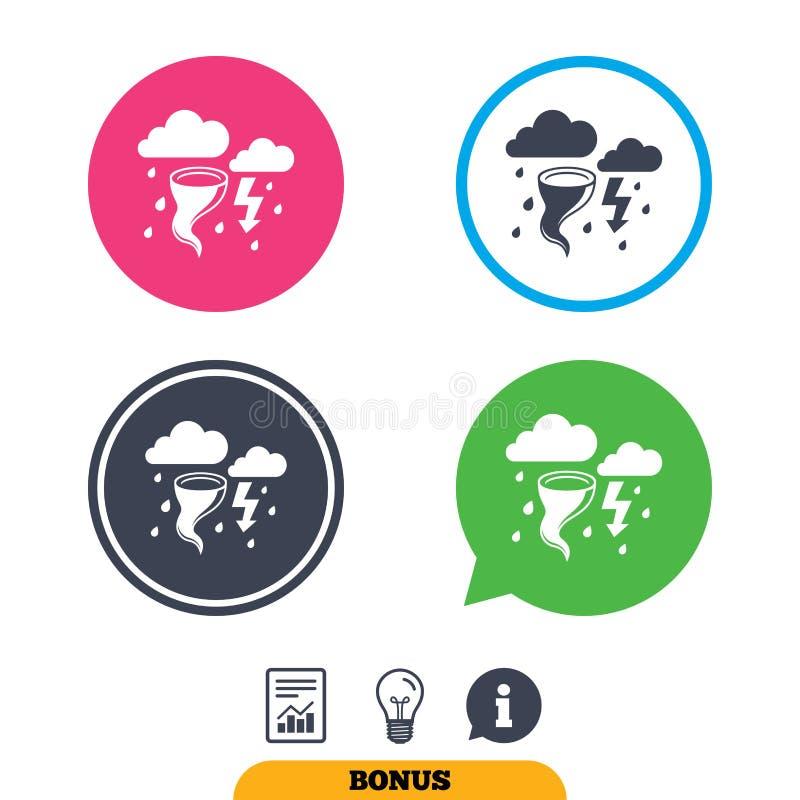 Icona del segno del maltempo della tempesta Uragano di vento fortissimo illustrazione di stock