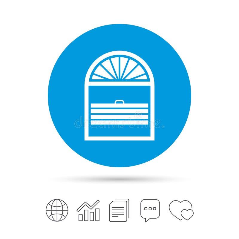 Icona del segno del pieghettato delle feritoie Gelosia dei ciechi di finestra illustrazione di stock