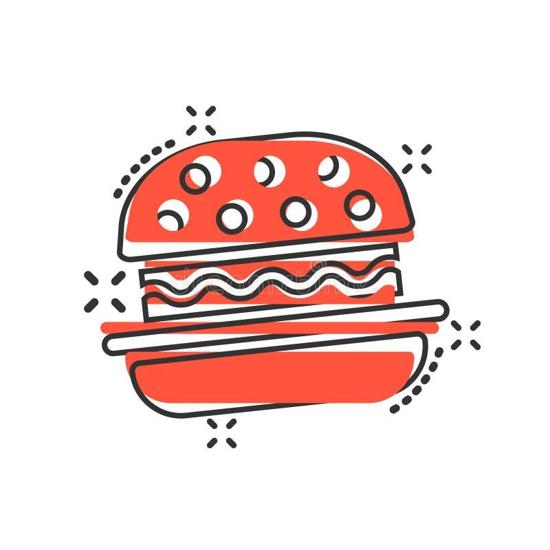 Icona del segno dell'hamburger nello stile comico Illustrazione del fumetto di vettore dell'hamburger su fondo isolato bianco Con illustrazione di stock