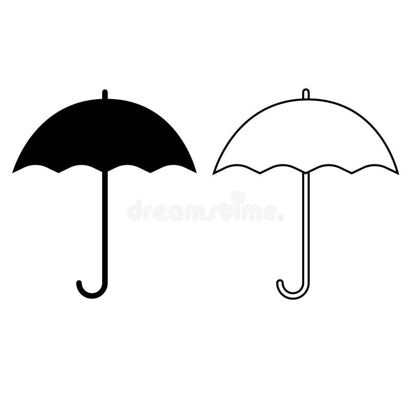 Icona del segno dell'ombrello Simbolo di protezione di pioggia Stile piano di progettazione illustrazione di stock