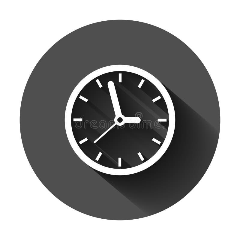 Icona del segno dell'orologio nello stile piano Illustrazione di vettore della gestione di tempo su fondo rotondo nero con ombra  illustrazione di stock