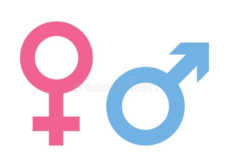 Icona del segno della donna e dell'uomo Rosa di simbolo della femmina e del blu di maschio illustrazione vettoriale