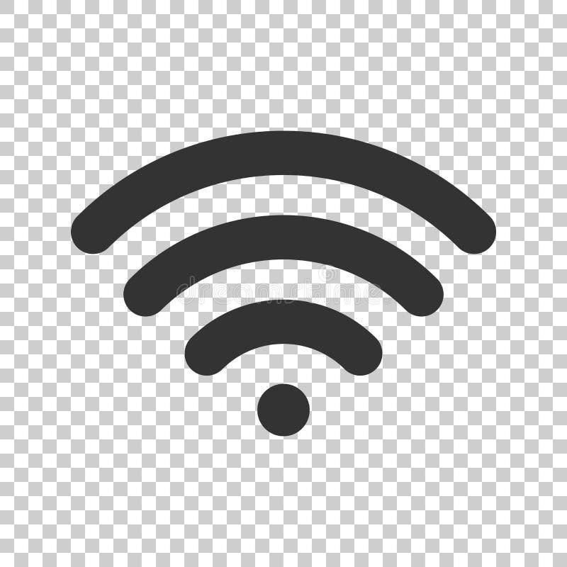 Icona del segno di Internet di Wifi nello stile piano Tecnologia wireless di Wi-Fi illustrazione di stock