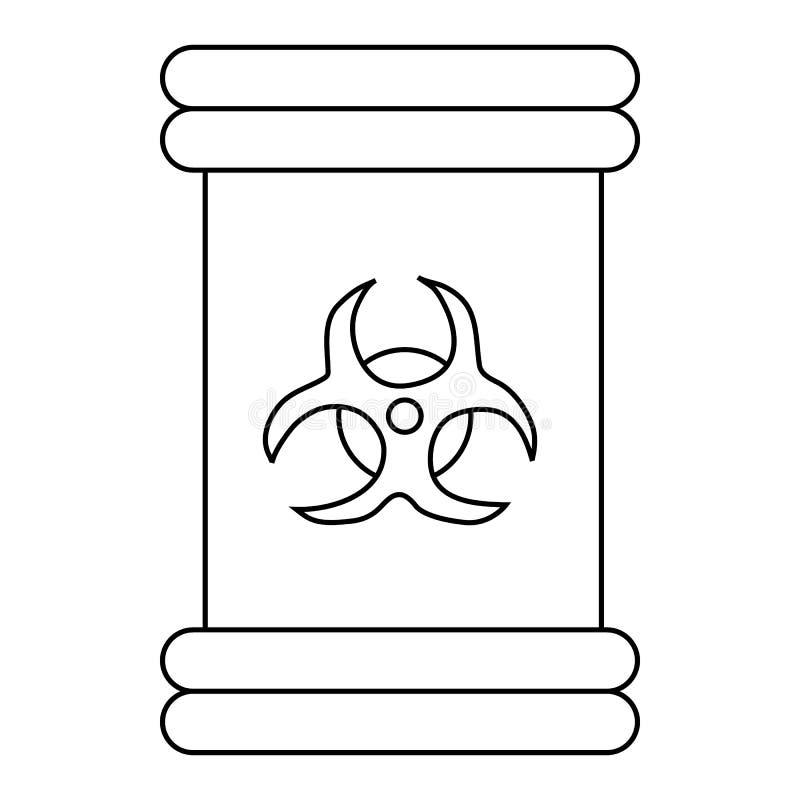 Icona del segno di simbolo di rischio biologico, stile del profilo illustrazione vettoriale