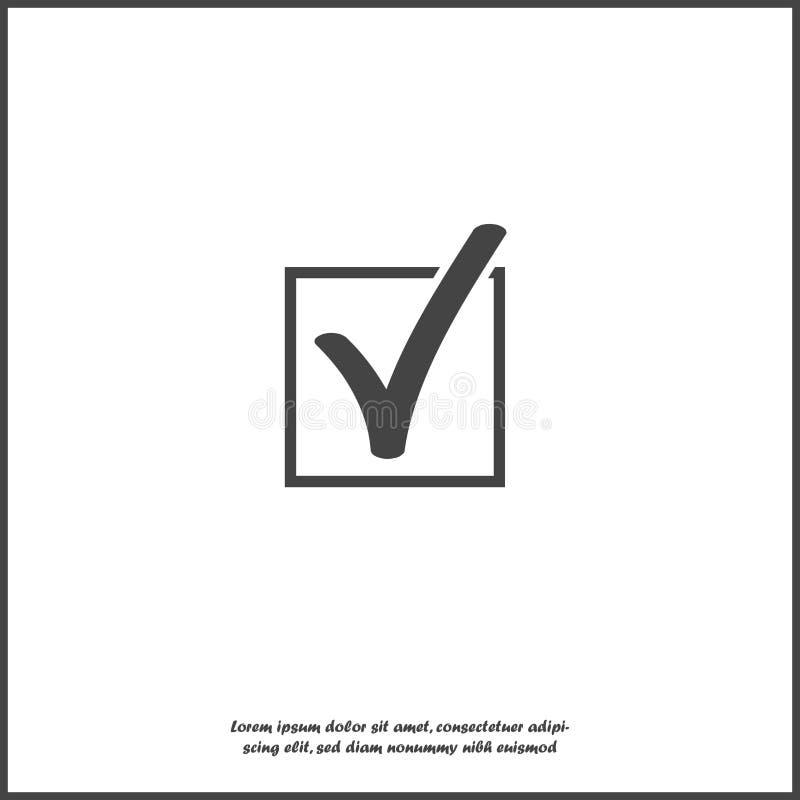Icona del segno di spunta di vettore in quadrato in su fondo isolato bianco Strati raggruppati per l'illustrazione di pubblicazio illustrazione vettoriale