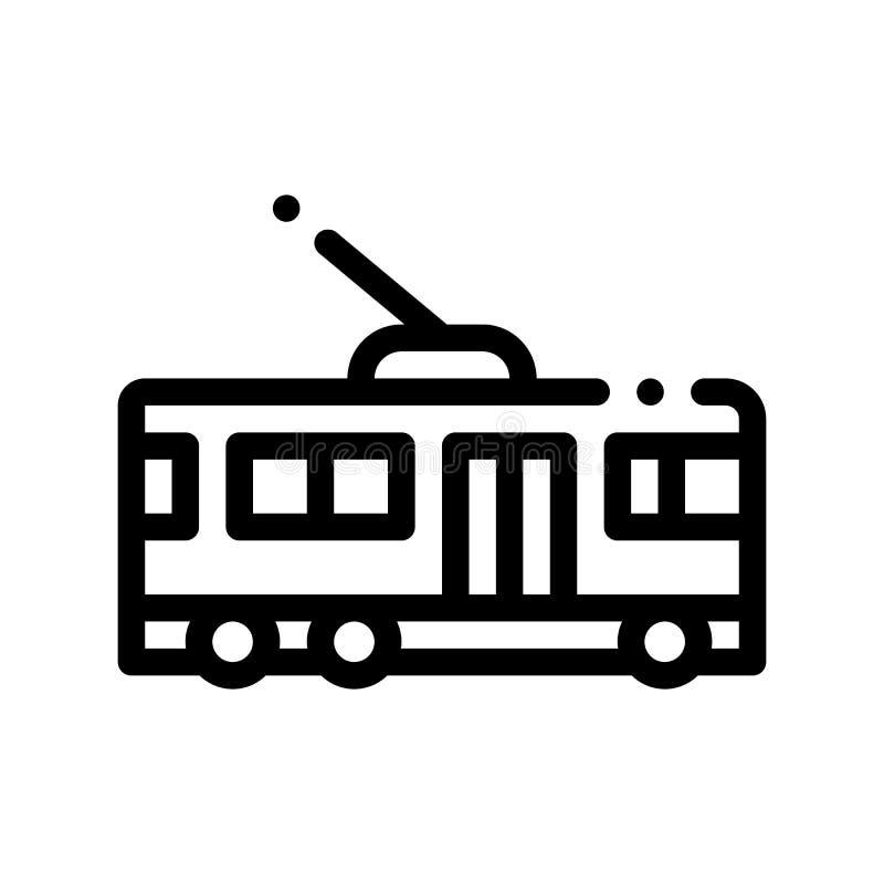 Icona del segno di vettore del filobus di trasporto pubblico illustrazione di stock