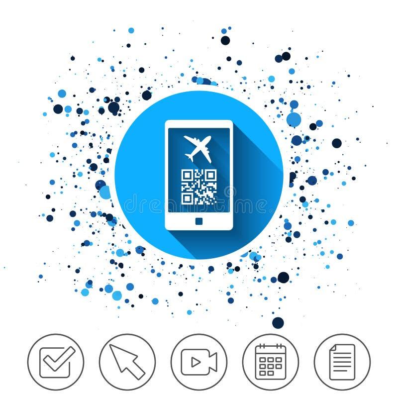 Icona del segno di volo del passaggio di imbarco Biglietto dell'aeroporto illustrazione di stock