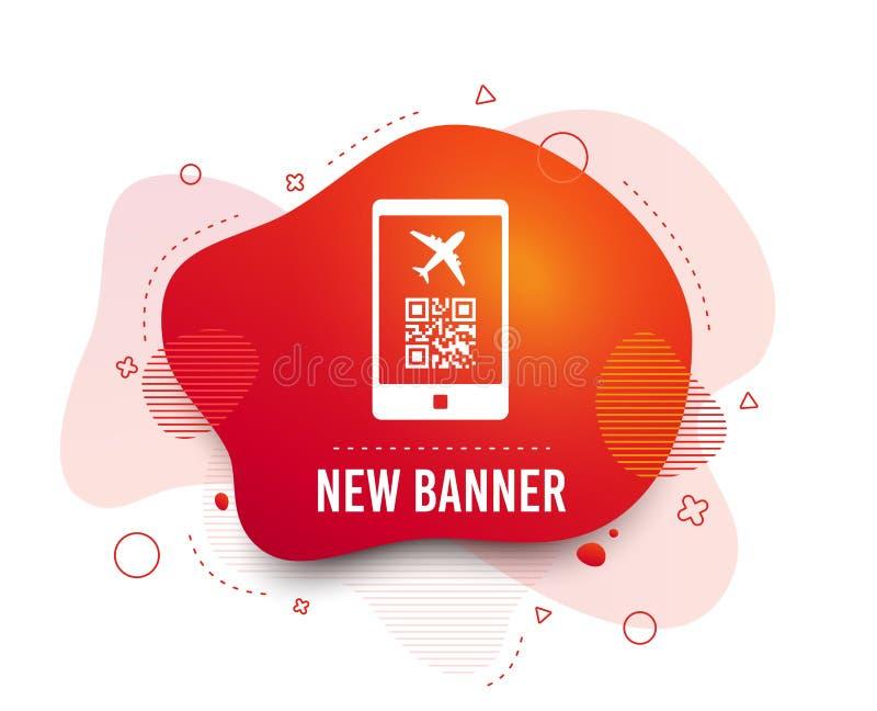 Icona del segno di volo del passaggio di imbarco Biglietto dell'aeroporto Vettore illustrazione vettoriale