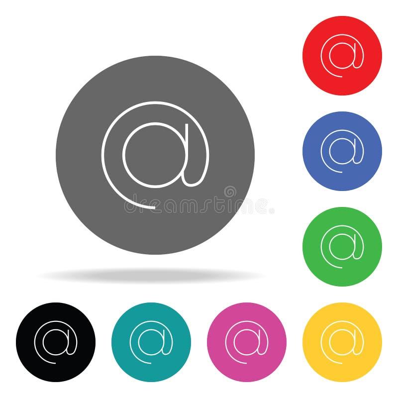 Icona del segno del email Elementi nelle multi icone colorate per i apps mobili di web e di concetto Icone per progettazione del  illustrazione vettoriale