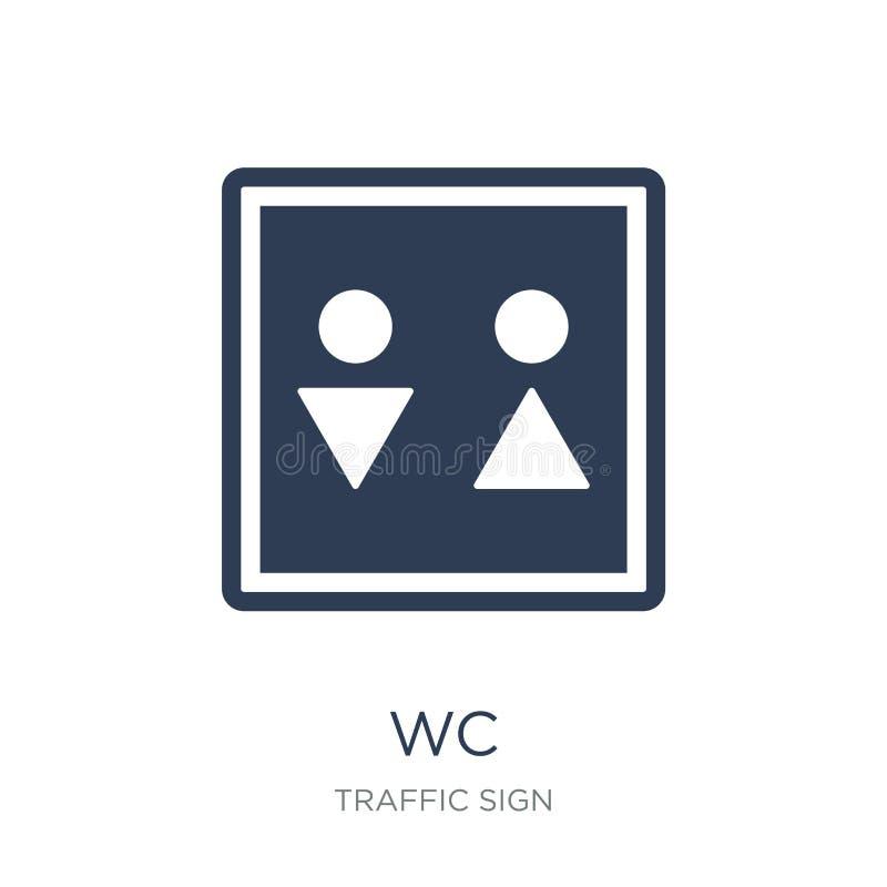 Icona del segno del WC Icona piana d'avanguardia del segno del Wc di vettore su backgroun bianco royalty illustrazione gratis