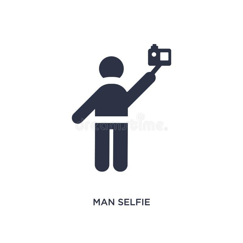 icona del selfie dell'uomo su fondo bianco Illustrazione semplice dell'elemento dal concetto di comportamento royalty illustrazione gratis